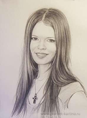 Портрет Елены Князевой. Рисунок карандашом